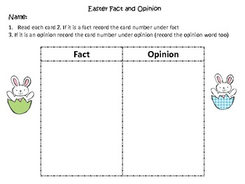 Fact and Opinion Center-Easter Themed