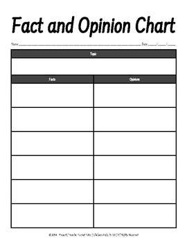 Fact and Opinion Chart {Graphic Organizer}