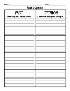 Fact and Opinion Chart Organizer