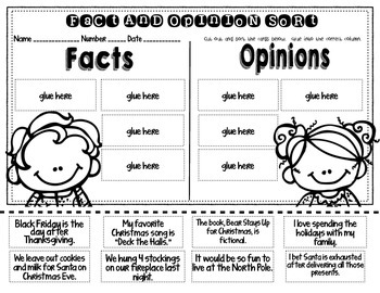 Fact and Opinion Sort Christmas Theme FREEBIE!