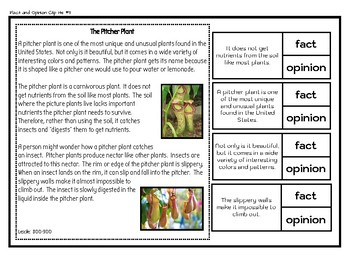 Fact and Opinion Clip-it Cards