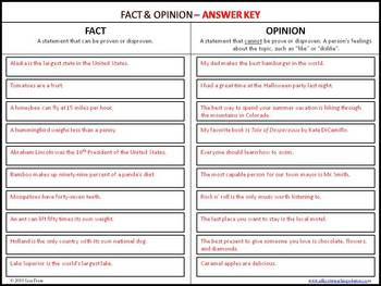 Fact and Opinion Cut and Paste Category Board