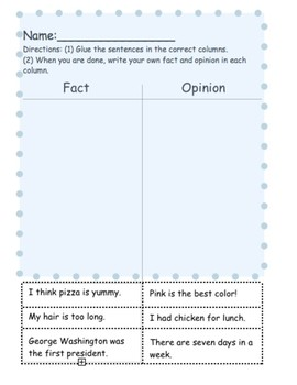 Fact and Opinion Cut-outs Worksheet