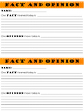 Fact and Opinion Exit Slip