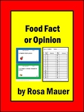 Fact or Opinion Task Cards and Worksheet Activity Food Theme