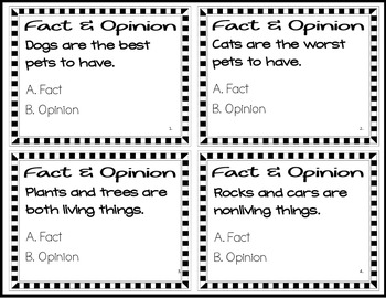 Fact and Opinion Task Cards and Game