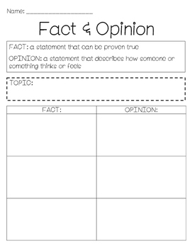 Fact and Opinion Graphic Organizer
