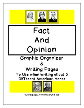 Fact and Opinion Graphic Organizer and Writing Pages for 5 American Heroes