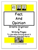 Fact and Opinion Graphic Organizer and Writing Pages for 5