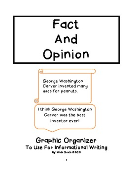 Fact and Opinion Graphic Organizer Freebie for Informational Writing