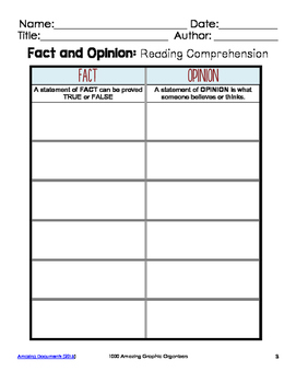 Fact and Opinion Graphic Organizers for Guided Reading