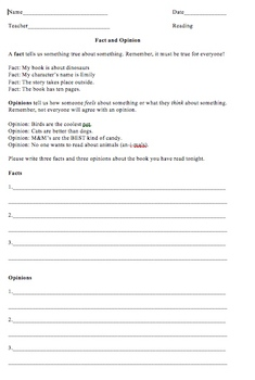 Fact and Opinion Homework Worksheet