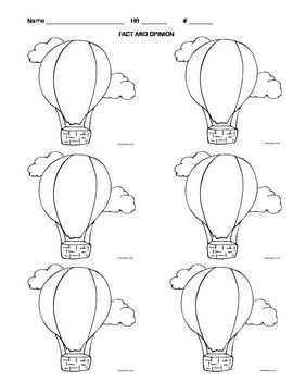 Fact and Opinion Hot Air Balloons