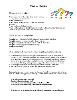 Fact and Opinion Introduction Handout with Definitions and Explanations