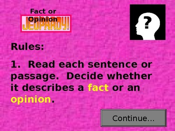 Fact and Opinion Jeopardy