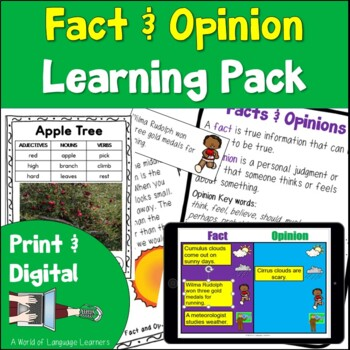 Fact and Opinion Learning Pack