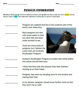 Fact and Opinion Lesson Plan - 4th Grade ELA/Reading