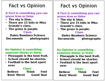 Fact and Opinion Mini Anchor Chart