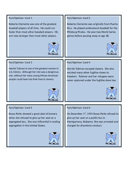 Fact and Opinion Non-fiction Task Cards (African American