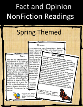 Fact and Opinion NonFiction Readings - Spring