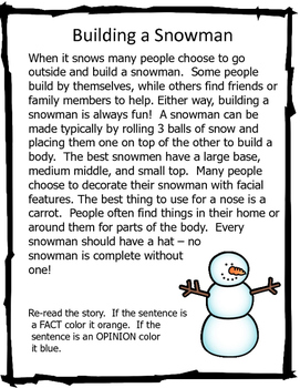 Fact and Opinion NonFiction Readings -  Winter