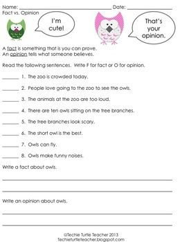 Fact and Opinion - Owls sorting game, worksheet, and more