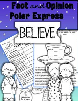 Fact and Opinion Polar Express Winter Christmas  Activities