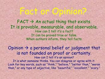Fact and Opinion Poster: How Can You Tell?