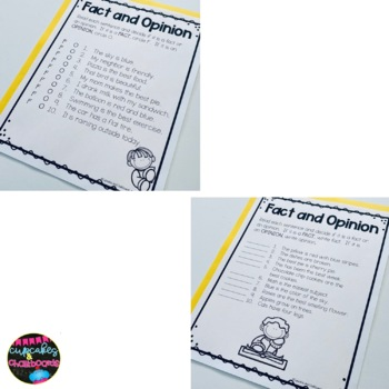 Fact And Opinion Worksheets And Posters By Cupcakes And Chalkboards
