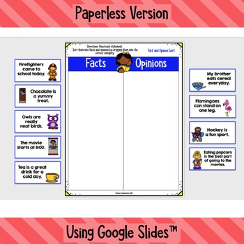 Fact and Opinion Printable and Digital Worksheets