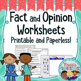 Fact and Opinion Worksheets Printable and Digital | Distan