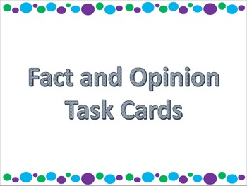 Fact and Opinion QR Code Task Cards