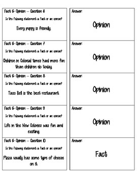 Fact and Opinion Quiz Quiz Trade Cards - Cooperative Learning - Task Cards