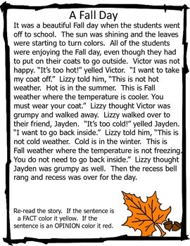 Fact and Opinion Readings - School and  Autumn (Fall)