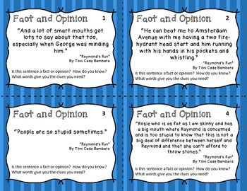 Fact and Opinion Task Cards - Real Literature Examples