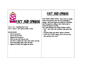 Fact and Opinion Reference Card