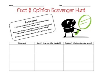 Fact and Opinion Scavenger Hunt