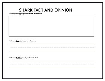 Fact and Opinion Shark themed activity 1st 2nd 3rd Grade graphic organizer