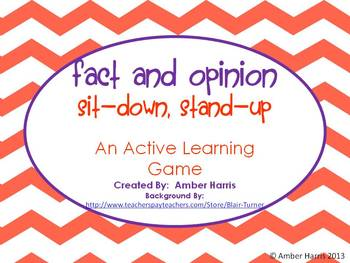 Fact and Opinion Sit Down Stand Up Active Learning Game