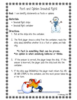 Fact and Opinion Snowball Fight!