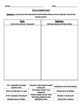 Fact and Opinion Sort Activity
