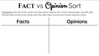 Fact and Opinion Sort - Interactive Google Slide