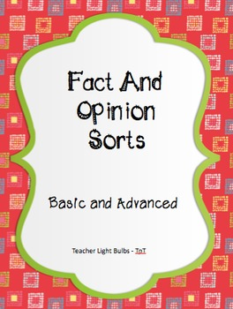 """Fact and Opinion Sort (Basic and Intermediate) - A """"Hands On"""" Literacy Center"""