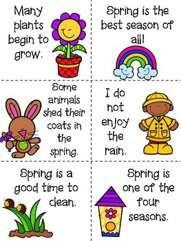 Fact and Opinion Sort-- Spring Themed