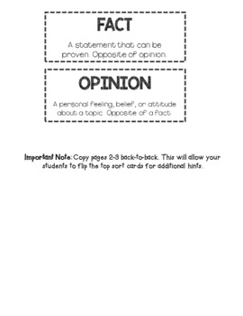 Fact and Opinion Sort, Worksheets, and Posters - Readers Workshop