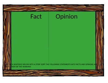 Fact and Opinion Sorting Activity