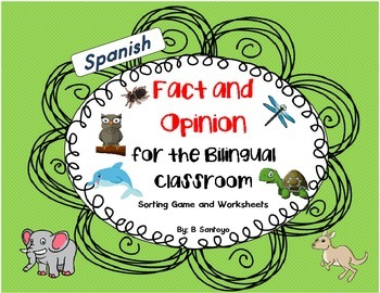 Fact and Opinion Sorting Game and Worksheets - Spanish