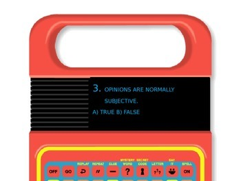 Fact and Opinion Speak and Spell quiz