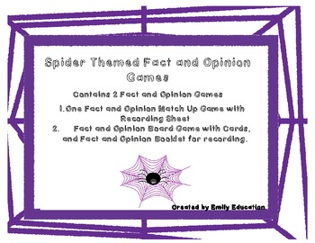 Fact and Opinion Spider Themed Activities and Centers