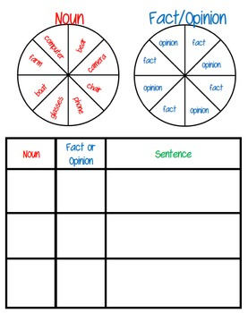 Fact and Opinion Spinner Game